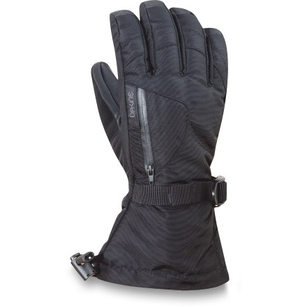 Ski The Dakine Sequia gloves keep your hands warm on the chilly chairlift ride to the top of the mountain and on the long run all the way back down. Nylon/polyester shells have Gore-Tex(R) waterproof breathable inserts to keep your hands dry on winter outings; exterior has a Durable Water Repellent treatment. High-loft synthetic insulation keeps your hands toasty while you take on winter weather. Removable 4-way stretch liner gloves allow you to fiddle with bindings and zippers without exposing your bare hands to the cold. Get a good grip on your ski poles with the RubberTec PVC palms. Exterior zippered pockets are sized to hold small essentials or hand warmer packets (sold separately). Cinch the gauntlets with a simple pull on the shockcord. Soft panels on the thumbs give you a gentle place to wipe your cold nose. DAKINE Sequoia gloves have a polyester tricot lining that adds warmth and wicks moisture off your hands. - $44.93