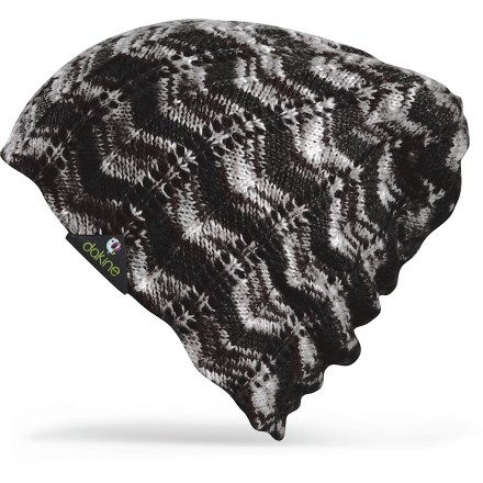 Entertainment The reversible DAKINE Ashley hat includes a multicolor acrylic pointelle knit on 1 side and a solid-color flat knit on the other for 2 distinct looks. Acrylic yarn has a soft hand for great comfort. - $11.83