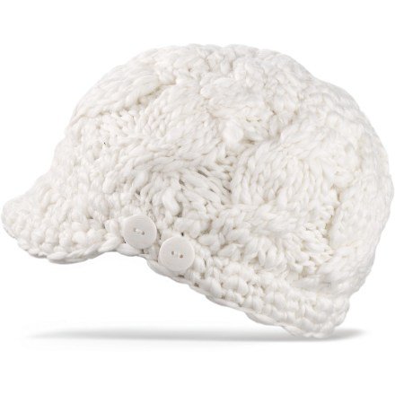 Entertainment The hand-crocheted DAKINE Remix hat has a soft visor and button detailing to add style to your winter wardrobe. Acrylic exterior is backed with a ribbed jersey acrylic lining for added warmth. - $16.93