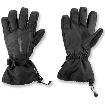 Ski Don't let cold fingers keep you from having fun. Pull on the DAKINE Titan gloves and carve turns down snowy slopes or spend an afternoon trekking through the woods on snowshoes. Nylon/polyester shells have Gore-Tex(R) waterproof breathable inserts to keep your hands dry on winter outings; exterior has a Durable Water Repellent treatment. High-loft synthetic insulation keeps your hands toasty while you take on winter weather. Removable 4-way stretch liner gloves keep your hands warm when you need to fiddle with bindings and zippers. Get a good grip on your ski poles with the RubberTec PVC palms. Waterproof external zippered pockets can be used to hold a house key, lip balm or hand warmer packets (sold separately) on cold days. Cinch the gauntlets with a simple pull on the shockcord to keep cold air and snow out. Soft panels on the thumbs give you a gentle place to wipe your cold nose. DAKINE Titan gloves have a polyester tricot lining that adds warmth and wicks moisture off your hands. - $44.93