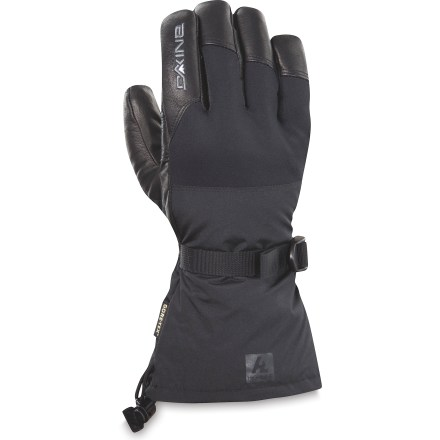 Ski Seek out hidden powder stashes or spend the day sliding rails in the terrain park with the DAKINE Rover gloves. Nylon/polyester shells have Gore-Tex(R) waterproof breathable inserts to keep your hands dry on winter outings; exterior has a Durable Water Repellent treatment. Warm, light and nonbulky PrimaLoft(R) synthetic microfiber insulation delivers great warmth while expelling moisture and allowing high dexterity. Leather palms ensure you have a good grip of ski poles and ice axes; Durable Water Repellent treatment sheds moisture. Polyester fleece and wool lining adds warmth and feels soft next to skin. Cinch the gauntlets with a simple pull on the shockcord to keep cold air and snow out of the DAKINE Rover gloves. - $41.83