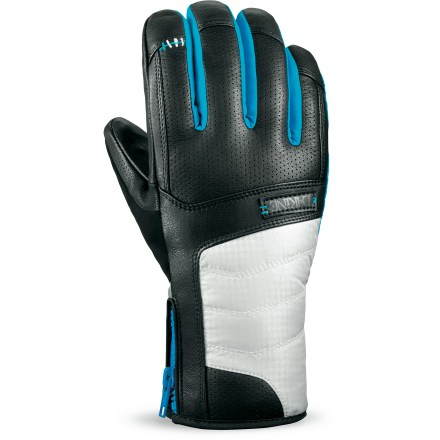 Ski The low-profile DAKINE Targa gloves provide the warmth and dexterity needed to navigate steep mountain terrain in the middle of winter. Nylon/polyester shells have Gore-Tex(R) waterproof breathable inserts to keep your hands dry on winter outings; exterior has a Durable Water Repellent treatment. High-loft synthetic insulation keeps your hands toasty as you take on winter weather. Leather palms ensure you have a good grip of ski poles; Durable Water Repellent treatment helps prevent the leather from soaking up water. Soft fleece lining is comfortable next to skin. DAKINE Targa gloves have zippered cuff closures that create a snug seal around your wrists. Soft panels on the thumbs give you a gentle place to wipe your cold nose. - $36.83