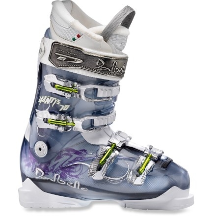 Ski The Dalbello Mantis 10 ski boots bring confidence-inspiring support to your feet as you shred your way down the mountain. The Dalbello Mantis 10 ski boots perform especially well with modern reverse camber and rockered skis thanks to an upright cant and cuff angle. Shell features 3 differing densities to enhance performance: rigid outsoles to transfer power, precision mid frame to adapt to feet and soft plastic over instep to ease entry. Women-specific liners precisely fit your feet and calves, enhance warmth and boost cushioning. Liners are engineered to fit correctly right out of the box, but they can be custom molded as well, a procedure best performed in an REI specialty ski shop. 4 microadjustable aluminum buckles on each boot create a precision fit. 40mm power straps enhance wrap and support of the upper ankles while increasing the boots' forward rigidity. Adjustable rear spoiler shores up the space behind your calf; spoiler can be removed if desired. Single canting adjustment fits the cuffs to the angles of your lower legs and levels the soles of the boots above the skis. With a flex index of 85, Dalbello Mantis 10 ski boots offer medium resistance against forward flex, appropriate for most intermediate female skiers. 99mm last provides a close fit and enough comfort to ski all day long. - $239.93