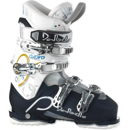 Ski Designed for comfort and fun, the Dalbello Aspire 75 ski boots for women will help you hone your skills as you enjoy the day on the mountain. Women-specific fit is designed for your foot and calf; fabrics and extra insulation are selected for their softness and warmth. Ski easier, ski longer-the structural materials are lighter and more flexible than those used in men's boots. Shell features 2 differing densities fused into a single design: hard shell offers control and support, and soft shell enhances fit and comfort. Soft shell material over instep makes it easy to get your foot in and out of the boots. Liner system brings soft, warm, extremely comfortable support to your feet; as you ski, the liners conform to your foot shape. Lady fit liners are shaped specifically for women's feet, with tapered heels, roomy forefeet, high insteps and low-profile cuffs. Aspire 75s feature a cuff insert that, when removed, increases the circumference of the boot top and boosts the comfort of your calves. 4 microadjustable aluminum buckles on each boot create a precision fit; inverted bottom buckles won't come loose from contact with snow. Power straps enhance wrap and support of the upper ankles while increasing the boots' forward rigidity. Ski/walk mechanism softens the flex of the boot while you're headed toward the lift and increases the flex when you're carving turns down the hill. With a flex index of 70, Dalbello Aspire 75 ski boots offer light resistance against a forward lean, appropriate for novice skiers. - $249.95