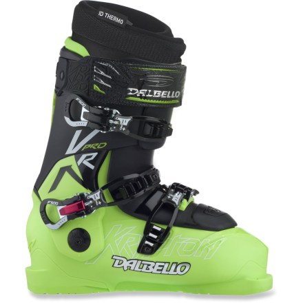 Ski The all-mountain Dalbello KR Two Pro I.D. ski boots offer you the ability to tweak the fit to your exacting, powder-hungry, hard-charging expectations. Completely redesigned boot mold enhances power, precision and comfort by matching 4 critical fit points on your feet. Offering a precise foothold and a progressive forward flex, 3-piece shell optimizes responsiveness for today's relatively short, wide skis. Separate cuff, shell and tongue sections are joined together to create a smooth forward flex with precise side-to-side support. Enhancing side-to-side response and providing a snugger wrap, bi-injected cuffs feature stiff plastic on sides and soft plastic on the strap that wraps around shins. The Dalbello KR Two Pro I.D. ski boots perform especially well with tradionally cambered and modern rockered skis thanks to an upright cant and cuff angle. 2 interchangeable tongues let you choose between stiff and medium flex to fine-tune responsiveness and sensitivity; installed tongue is stiff flex. Anatomically shaped, liners offer a low-volume, performance fit that improves sensitivity and responsiveness. High-density EVA foam is lighter and warmer than standard foams and can be shaped to accommodate specific fit issues. Liners of the Dalbello KR Two Pro I.D. must be custom formed at a specialty ski shop with equipment that works specifically with Dalbello boots. For further information please contact your REI specialty ski shop. Slide-In system places smooth, slick fabric on the inside of the cuffs to allow your feet easy entry and exit. Expanded-volume toe boxes give your toes wiggle room up front. Cable instep buckle on each boot minimizes foot sliding, heel lift and shell distortion while flexing, and a specialized adjustment fine-tunes the cable tension. 3 microadjustable aluminum buckles on each boot create a precision fit; inverted bottom buckles won't come loose from contact with snow. - $699.95