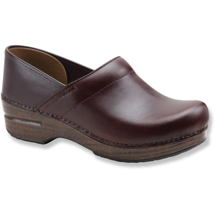 The stylish women's Dansko Professional Oiled full-grain leather clogs offer your feet water- and slip-resistant bastions of support for all-day wear. Breathable, full-grain leather uppers are oiled for water resistance and durability. Oiled leather may occasionally appear to have light scuffs-rub lightly with fingertips to smooth out scuffs. Leather uppers are stapled to the bases for a durable, secure fit. Antimicrobial leather linings help deter odor development. Sturdy polyurethane toe boxes protect feet from bumps and enhance durability without compromising toe space. Contoured midsoles offer firm arch support and superior shock absorption for long-lasting, on-your-feet support. Rocker-bottom outsoles support your natural heel-to-toe transition for all-day wear and comfort, and provide superior slip resistance. Dansko Professional Oiled clogs carry the Seal of Acceptance from the American Podiatric Medical Association. A good Dansko fit should allow heels to move up and down freely, with ample wiggling room in the front for toes. - $120.00