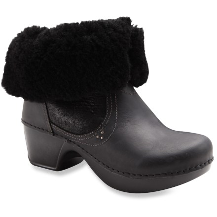 The cozy and dynamic Dansko Harper boots boast fold-down style to expose the warm sheepskin shearling linings, giving you 2 looks in 1 versatile boot. Rich and wonderfully soft, oiled leather uppers offer supple style; uppers can be folded down to expose sheepskin shearling trim. Leather strap wraps around the back of the boots and secures with a button for a comfortable fit. Linings use a combintation of sheepskin shearling and polyester to help regulate heat and moisture so feet always feel comfy and cozy. Memory foam footbeds cushion and cradle feet for comfort. Steel shanks and polypropylene supports within the midsoles allow heel-to-toe flexibility and side-to-side stability. Molded polyurethane midsoles/outsoles offer flexibility, dependable shock absorption and nonslip traction. Dansko Harper boots proudly carry the Seal of Acceptance from the American Podiatric Medical Association. - $89.83