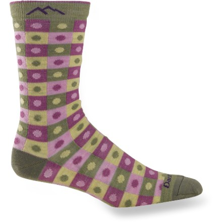 Fitness Darn Tough Dots and Squares Crew Light socks are darn comfy and superstrong. These lightweight socks come in fun colors, sport a contemporary design and fit comfortably in casual shoes. Darn Tough uses a custom-count, shrink-treated merino wool that enhances the comfort and durability that outdoor enthusiasts have come to expect. Merino wool wicks away moisture and breathes to regulate temperature for outstanding comfort in a variety of conditions. 3/4 crew height sits just below the calves. Relaxed cuffs. Reinforced heels and toes. Elastic support around the arches. Darn Tough recommends that you machine wash socks inside out in warm water on gentle cycle and tumble dry on low. *Discount will be applied when you check out. Offer not valid for sale-price items ending in $._3 or $._9. - $12.93