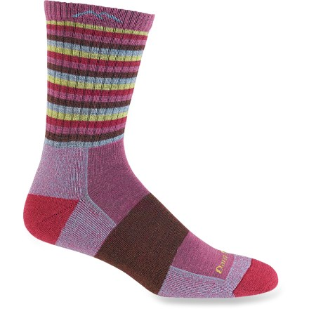 Camp and Hike Darn Tough Stripes Micro Crew women's socks provide miles of comfort and durability-tested on the Vermont Long Trail, these socks provide a high level of cushioned performance. - $20.00
