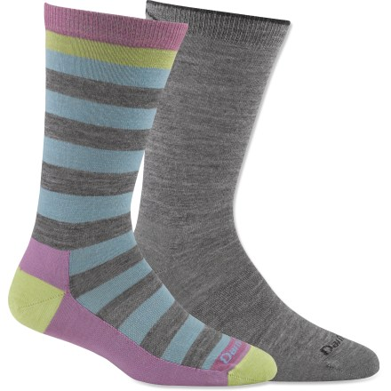Fitness Darn Tough Casual socks are darn comfy thanks to their fine-gauge merino wool blend. These everyday socks come in fun colors and fit comfortably in casual shoes. Darn Tough uses a custom-count, shrink-treated merino wool blend that enhances the comfort and durability that outdoor enthusiasts have come to expect. Merino wool wicks away moisture and breathes to regulate temperature for outstanding comfort in a variety of conditions. High stitch count and Lycra(R) spandex ensure a secure, foot-hugging fit; seamless toes reduce hot spots and blisters. Darn Tough recommends that you machine wash socks inside out in warm water on gentle cycle and tumble dry on low. Please note: a package of 2 pairs counts as 1 pair of socks for the 10% volume discount. *Discount will be applied when you check out. Offer not valid for sale-price items ending in $._3 or $._9. - $15.83