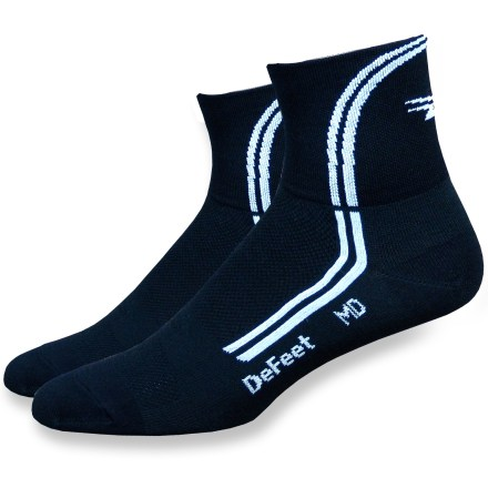 Fitness Keep your feet cranking with the DeFeet DeLine high-performance biking socks! Air-E-Ator(R) mesh weave on top of socks and insteps allows feet to breathe and helps socks stay dry. Offering the same performance benefits as CoolMax(R), CoolMax EcoMade(TM) is made from recycled PET polyester and is tough enough to endure the daily grind. Non-bulky construction ensures a smooth, close fit right out of the box. Seam is knit under the toe gap for a smooth feel. *Offer not valid for sale-price items ending in $._3 or $._9. - $6.93