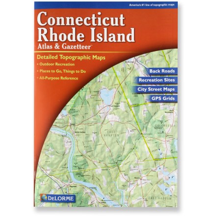 Ski The DeLorme Connecticut and Rhode Island Atlas and Gazetteer features topographic maps along with roads, trails and recreational hotspots. - $19.95