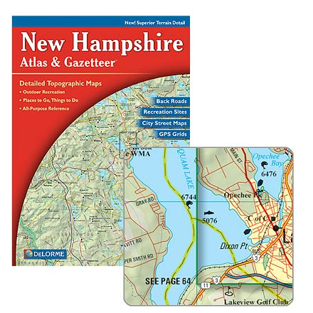 Detailed topographic maps of the entire state of New Hampshire--features 60 street maps of cities and towns as well as attractions and recreation. - $9.83
