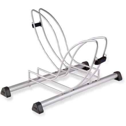 Fitness Get organized and clear space in your garage or basement with the Delta Seurat two-bike floor stand. Holds one or two bikes; securely holds any wheel size. Made of steel with rubberized feet to hold the stand steady and protect the floor. - $28.93