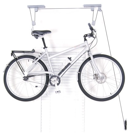 Fitness The El Greco Ceiling Hoist from Delta raises and stores a bike up and out of the way. It will also hold a kayak or ladder. - $24.93