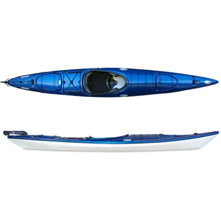 Kayak and Canoe With oodles of room for gear, the Delta Fourteen 5 Expedition kayak delivers superb stability during both day tours and extended paddling trips. Thermoformed ABS plastic hull material is stiff and light like traditional composite kayaks and offers similar looks, but costs considerably less. Hull shape enhances primary stability without compromising secondary stability, allowing beginners to feel comfortable in rough seas. Roomy cockpit offers extra legroom while long, low waterline and distinctively chined hull supply a dry ride in rough water; high volume upper hull enhances flotation. Seat is adjustable 4 in. forward and backward even while paddling so the trim of the kayak can be adjusted on the move. Neoprene-padded seat and adjustable backband offer comfort and support on long trips; neoprene padding on thigh bracing improves comfort and control. Cockpit-adjustable footbraces fit most paddlers, and integrated thighbraces are placed such that you don't scrape your shins during entry. Great for extended touring, the generous capacity of the bow and stern hatches provide access to dry storage space. Cockpit-deployable aluminum rudder system enhances tracking, minimizes side-slipping and helps with steering when you need it; 2009 model extends rudder by 1.5 in. Bulkheads add buoyancy and keep gear dry; hardshell, recessed hatch covers with neoprene hatch seals are secured via bungee closures. Bungee deck rigging at bow and stern retains extra gear; safety straps aft of cockpit as well as nylon perimeter lines aid in paddle float self-rescue. Ergonomic, rubber grab handles are easy on hands and make car-topping and transport to the water a snap. - $2,125.00