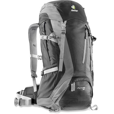 "Camp and Hike The Deuter Futura 32 pack is perfectly sized and equipped for long day trips and quick weekend getaways. This technical pack takes you from forested trails to paved sidewalks in lightweight comfort. Contoured, padded shoulder straps are lined with breezy air-mesh for breathability; they also feature ""load lifter"" stabilizing straps for ideal positioning of the pack. Patented Aircomfort suspension features a tight, hammocklike panel of mesh that allows warm air to escape and fresh air to circulate between pack body and wearer. Suspension consists of spring-steel frame that is flexible and light, and tensioned to support the suspended mesh for ventilation. Soft, bi-laminate hip pads and hipbelt wrap your body, stabilizing and controlling lateral pack movement on the go. Main compartment has plenty of room for food, clothing and the 10 essentials; 2 side mesh pockets and 2 side bellows pockets are roomy enough for water bottles and snacks. Practical front pocket and 2 lid pockets store your map, compass, headlamp and other often-used gear. Bottom compartment is accessed from and also separated from the rest of the pack, ideal for separating wet/dirty items. Hydration-compatible design features a 3-liter reservoir pocket and drink tube exit port for on-the-go hydration (reservoir sold separately). Side compression straps let you cinch down loads for jostle-free carrying. The Deuter Futura 32 pack features a built-in raincover that can be pulled out in a flash, protecting contents from sudden downpours. - $139.00"