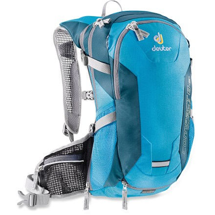 Fitness Built for women, the Deuter Compact EXP Air 8 SL hydration pack keeps your back cool, your thirst quenched and your gear near. SL = Slim Fit, specifically designed with narrower, shorter shoulder straps and shorter back system proportions to fit hikers up to 5 ft. 7 in. tall. Sturdy, lightweight ripstop nylon features an external water-resistant finish and an internal polyurethane coating for durability. Deuter Aircomfort patented suspension design allows warm air to escape and fresh air to circulate between pack body and wearer for increased comfort. Includes BPA-free Streamer Hydration 100 fl. oz. reservoir with drink tube for on-the-go hydration. Main compartment has room for the 10 Essentials and extra clothing layers; 2 side mesh pockets are roomy enough for water bottles and snacks. Front zip pocket stores often-accessed gear such as headlamp, first-aid kit, sunscreen, multitools and much more. Bottom compartment features a zippered divider, ideal for separating wet gear from dry gear. Raincover can deploy at a moment's notice to help keep your gear dry; when not in use, it stows away in bottom zippered pocket. Side compression straps cinch down your load, or can store your protective pads. Mesh helmet holder deploys easily from the front of the Deuter Compact EXP Air 8 SL women's hydration pack. Reflective loop lets you easily attach a safety light (sold separately) to keep you visible. - $125.00