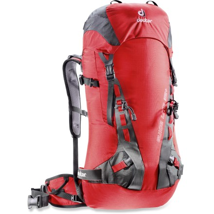 Climbing A clean, classic design and minimal weight make the Deuter Guide Lite 32+ pack a mountaineer's dream. It focuses on the essentials of top performance and comfort without excess bells and whistles. Anatomically cut hipbelt and shoulder straps feature fine-tune adjustability; loosen them for comfort during approaches and quickly tighten them down for precise load control. Back panel sports 2 vertical foam strips that help ensure stability and channel air for effective circulation. Delrin hoop frame supports the load and transfers weight to the hips. Top-loading main compartment is crowned with a lid that contains a zippered pocket for small valuables; SOS label inside the lid lists key info if you're lost or need help. Reinforced ski straps on the sides of the pack body secure skis and stand up to sharp edges; ice axe loops and carabiner loops provide secure attachment points for tools. The Deuter Guide Lite 32+ pack features a removable foam mat that adds support to the back panel and can be used as a trail seat. - $109.93