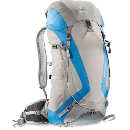 Camp and Hike The Deuter Spectro AC 24 pack for women offers great comfort and performance for done-in-a-day adventures or minimalist overnight trips. Patented Aircomfort Flexlite suspension enhances cooling airflow, provides spring-steel load support, and helps preserve an overall light load. Slim-fitting, women-specific design has narrow, short shoulder straps and a short torso length. Contoured, padded shoulder straps offer great comfort. Padded hipbelt wraps body for stability and comfort. Stretch-woven front stash pocket and side pockets store oft-accessed gear. Reservoir pocket and drink tube exit port accommodate on-the-go hydration (reservoir not included). Side compression straps cinch down loads for jostle-free carrying; attachment points allow you to lash trekking poles and ice tools to pack exterior. The Deuter Spectro 24 pack is made of Hexlite 100 ripstop nylon for lightweight durability. Closeout. - $70.83