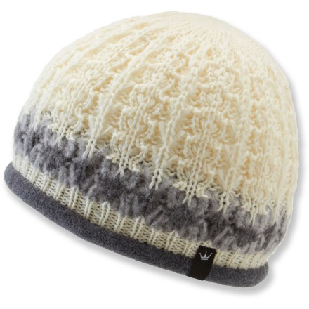 Snowboard This chic beanie's wool/mohair blend double-knit construction creates a thick barrier of warmth that withstands severe cold. Densely knit virgin wool ensures a warm, dry head, even in the most extreme conditions. Fuzzy fleece lining offers a soft feel, enhances warmth and wicks moisture away from your brow. - $14.83