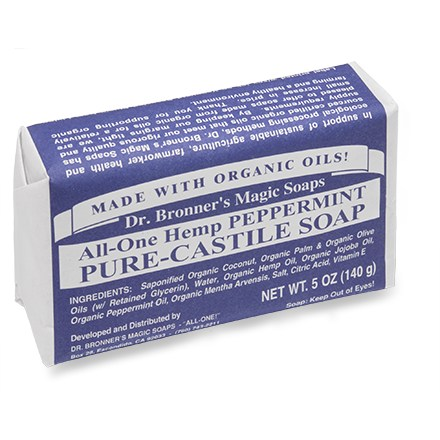 Camp and Hike Dr. Bronner's Pure-Castile bar soap is made of all-natural ingredients and organic oils. - $5.00