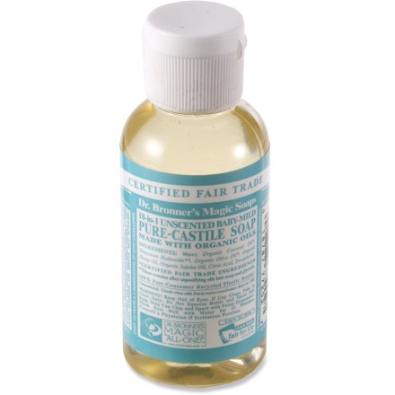 Camp and Hike This travel-size bottle of Dr. Bronner's Baby Mild liquid soap contains no fragrances, and all oils and essential oils are certified organic. - $3.50