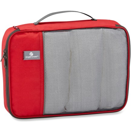 Entertainment Organize your travel essentials and clothing easily with the Eagle Creek Pack-It Cube-great for stowing T-shirts, shorts and other items in your luggage. Constructed of lightweight polyester for lasting performance, trip after trip. Clamshell opening with a double-zipper provides access to any part of the Cube. Breathable mesh top allows quick identification of items. Convenient grab handle offers easy transport. - $7.93