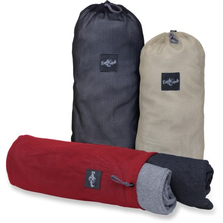 Entertainment The Eagle Creek Pack-It Mesh Stuffer set simplifies travel by organizing clothing and small items in your pack or luggage. Breathable nylon mesh uppers allow quick identification of items; stuff sacks also feature a ripstop nylon grab handle on bottom. Set features a small, medium and large mesh stuff sack. Shape is conducive for packing in nonstructured bags such as packs and duffel bags. Assorted colors allow easy identification when searching for a specific item or piece of clothing. - $22.00