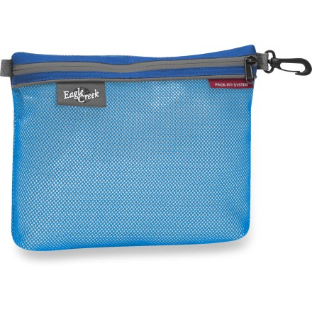 Entertainment Organize your small travel items with the large size Eagle Creek Pack-It Sac, which uses a see-through, spill-proof material for easy identification of contents. Spill-proof, mesh-reinforced polyurethane LinkSeal(TM) material is durable enough to withstand trip after trip. Carry clip lets you attach pouch inside or outside travel bags. Zipper keeps items securely in pouch. - $7.93