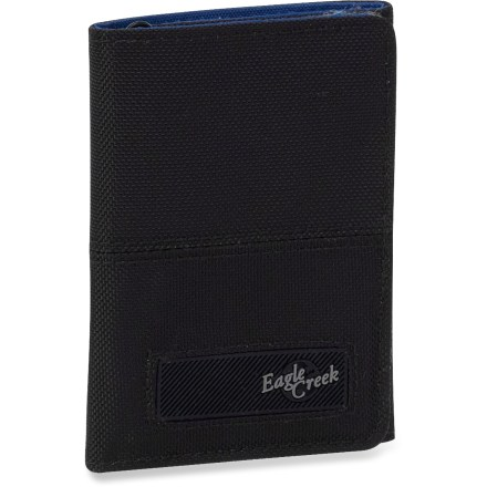 Entertainment Slim and secure, the Eagle Creek Transfer Tri-Fold wallet features a surprising number of organizational options, including a hidden bill compartment. Full-length bill slot, hidden bill compartment, 3 credit card slots, ID window, zippered coin pocket and 2 multipurpose pockets let you keep your wallet organized. Constructed of lightweight and durable nylon with thermoplastic polyurethane reinforcements for lasting use. Rip-and-stick flap closure keeps contents within the Transfer Tri-Fold wallet secure. - $27.50