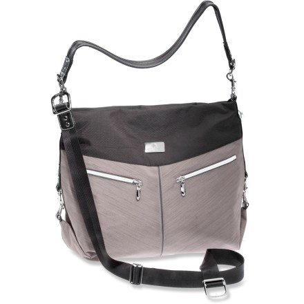 Entertainment The chic Eagle Creek Kensley shoulder bag is a versatile and practical go-anywhere bag. It's designed to accommodate the devices and goods you need to stay connected and outfitted on the go. Travel-focused interior organization includes an electronics pocket, a zippered document pocket and pen slots. Secure-zip toggle closure on main compartment prevents zipper from being easily unzipped. 2 carry options: removable, adjustable 50 in. strap can be carried over the shoulder or across the body. Kensley shoulder bag is made from tough, yet durable recycled polyester fabric. Metal findings and satin lining dress up the Eagle Creek Kensley bag. Reflective highlights improve nighttime visibility. - $96.00