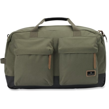 Camp and Hike Heading out on a quick get away? Choose the Eagle Creek Heritage Weekender bag for your travels. Cross-body shoulder strap with security clasp allows bag to be secured to anchored fixture. Large main compartment holds your travel items; 2-way lockable zippers close main compartment. 2 front exterior zippered cargo pockets for organization. 2 interior pockets organize small items. Zippered back cargo pocket for quick-access items. Back slip panel is perfect for stacking bag on rolling luggage. Tote handles for easy carrying. Made of durable Cordura(R) nylon and coated polyester fabrics. - $115.00