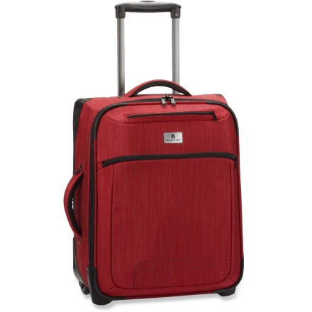 Entertainment The Eagle Creek Crossroads 21 International is a perfect carry-on size for breathtaking journeys near and far. Sized as an international carry-on, the Crossroads 21 fits in most overhead bins without compromising packing space. Book-style opening for easy packing and unpacking. Includes padded zippered front pocket and boarding pass pocket. Padded top and side handles and a bottom handle allow easy grab-and-go. 2-way lockable zippers on main compartment; locks not included. Constructed of heavy-duty Helix(TM) nylon with ripstop and ballistic reinforcement. Corner bumpers and rugged Bi-Tech(TM) bottom safeguard against urban obstacles. Interior compression wings secure the load. Please note: most airlines allow carry-on baggage not exceeding 45 linear inches (L+W+H). This is subject to change, so check your airline for actual size restrictions. Closeout. - $87.73