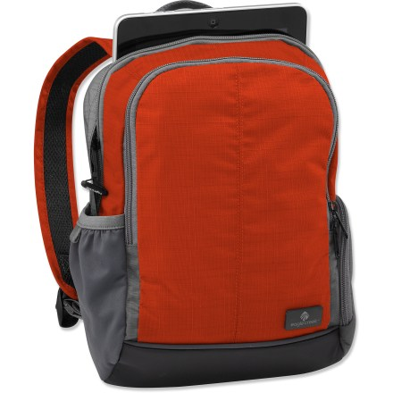 Camp and Hike The Eagle Creek Travel Bug daypack is sized to carry your daily necessities. ZIppered main compartment features Smart Travel Security(TM) organization, including an interior mobile phone and electronics pocket, zippered pocket, key fob and pen slot. Padded sleeve is sized for most tablets, netbooks and iPads. Zippered front pocket. Top grab handle for easy carry. Padded shoulder straps for comfortable carry. Reflective accents for low-light visibility. Closeout. - $24.83