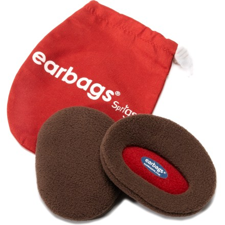 Designed in Sweden, Earbags are a great way to keep your ears warm without a hat or earmuffs! Made of soft polyester fleece, Earbags slip comfortably onto your ears. Polypropylene insert adds wind-blocking performance. Size medium fits ears that measure up to 2.25 in. long; size large fits ears from 2.25 in. to 2.75 in. - $10.93