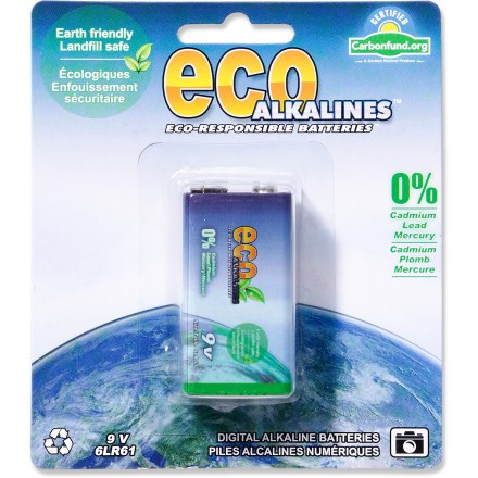 Camp and Hike The Eco Alkaline 9V batteries are made without harmful heavy metals commonly associated with alkaline batteries. They offer extended life-perfect for all kinds of portable electronic devices. Long-lasting Eco Alkaline 9V batteries are free of cadmium, lead and mercury. - $2.93