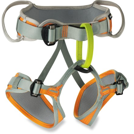 Climbing Outfit your young one with the Edelrid Finn climbing harness for kids so he or she can join you on the rock wall. Harness is sized specifically for kids; waistbelt adjusts from 17.5 - 26 in. Sliding belt allows the tie-in points to be centered for the best comfort. Easy Glider buckles adjust quickly and easily while maintaining the correct double-back configuration. 2 gear loops on the Edelrid Finn climbing harness can be used to hold a belay device, quickdraws or other gear. - $44.95