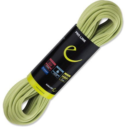Climbing Let the Edelrid Eagle Pro 9.8mm x 70m dry rope be your lifeline on your next climb. Whether you're on an alpine ascent in snow or spending a sunny day at the crag, the Eagle is up to the task. Pro Shield finish covers every last core and sheath yarn with a synthetic fluoropolymer coating, creating an impermeable protective layer; finish is nontoxic. Pro Shield reduces friction between individual yarns, which improves the ropes loading properties; finish also helps protect the rope against moisture and dirt. Dry Shield chemical finish protects the sheath yarns against moisture and dirt; finish resists washing out and improves the lifespan of the rope. Thermo Shield treatment consists of a heat process to stabilize individual yarns, ensuring the rope stays supple throughout its working lifetime. 9.8mm diameter keeps the weight down to 63g per meter, making this rope ideal for climbs that require a long approach. 70m length lets you climb modern sport routes and do long rappels in the mountains. Kernmantle construction combines durable braided sheath and shock-absorbent core for protection from fall forces. The Edelrid Eagle Pro 9.8mm x 70m dry rope meets UIAA tests for falls, impact force and elongation. - $195.93