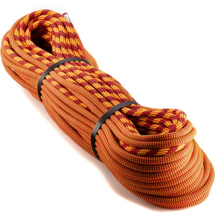 Climbing The light and nimble Edelweiss Energy ARC Bi-Pattern 9.5mm x 60m Everdry rope will help you reach the top of alpine peaks and send routes crag. Advanced Rope Control (ARC) features a sheath pattern that changes at the midpoint to ease rope management when climbing and rappelling. 9.5mm diameter saves weight over traditionally thicker ropes, while the 60m length accommodates most routes at the crag and in the alpine. Everdry treatment to the sheath of the rope reduces water absorption to keep the rope light and pliable. Kernmantle design features a stretchy core protected by a durable outer sheath which combine for strength and good handling. The Edelweiss Energy ARC Bi-Pattern 9.5mm x 60m Everdry rope meets UIAA tests for falls, impact force and elongation. - $153.93