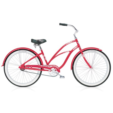 Fitness Electra Hawaii 3. It's all about the fun. About riding the boardwalk in light summer clothes, with flip flops on your feet and a smile on your face. Red frame and fenders with Hawaii flower decals and flower-embroidered spring seat set the spirit for the Hawaii 3-feminine and fun all the way. White sidewall tires bring home the festive look; they're wide, to provide stability at unhurried speeds. High-tensile steel frame has natural, built-in flex, so a fun-loving woman needn't worry over little bumps in the road. Step-through frame makes mounting and dismounting saddle quick and easy, and reduces fear of sudden stops. Innovative geometry places pedals fore of the seatpost, which creates a low center of gravity and positions rider in an upright, balanced position. Result is a comfortable riding position, full leg extension for maximum power, and, typically, an ability to reach the ground with both feet. Shimano Nexus three-speed shifting system is sealed in the rear hub; it's easy to use and virtually maintenance free. Plus, you can shift at a standstill-awkward starts into busy intersections are a thing of the past. Integrated coaster brake is both effective and intuitively simple to use-just pedal in reverse, like you did as a child on your first bike. Platform pedals accept just about any pair of shoes or flip flops; full-length chainguard keeps pants leg and skirt free of oil and entanglement. One size fits most. - $499.00