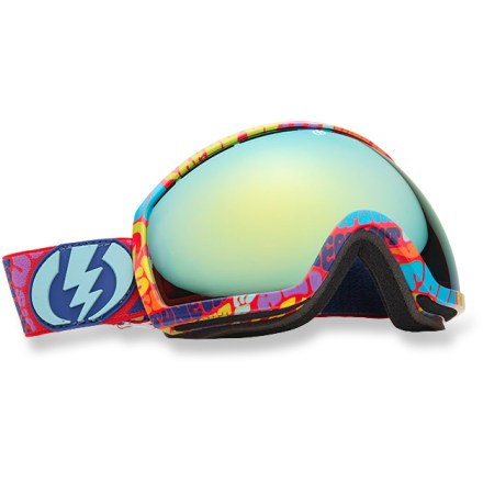 Snowboard Electric EG2 Tune-In snow goggles are your wide-screen HDTV for the mountains. Less frame and an oversize lens give you superior peripheral vision. Oversize spherical, dual polycarbonate lens offers excellent clarity and accuracy, and is engineered to provide a full field of vision. EG2 goggles feature an anti-reflective coating that absorbs light and reduces glare to improve visibility. Features long-lasting antifog treatment and scratch-resistant hard coating. Lightweight, contoured frame features ergonomic, triple-layer face foam. Vent foam promotes breathability and keeps out excess wind and moisture. Adjustable strap is helmet compatible. Bronze-tinted lens enhances shadow contrast and can be used in bright sun to cloudy conditions. Electric EG2 Tune-In snow goggles come with a microfiber goggles bag. Closeout. - $103.93