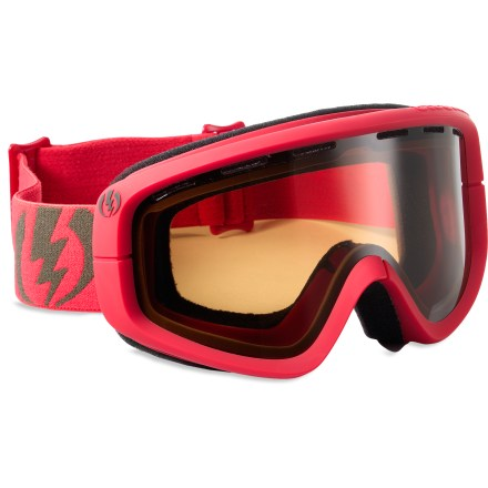 Snowboard Electric EGB snow goggles deliver clear, crisp optics at a great value so you can maintain visual acuity on the mountain without having to break the bank. Cylindrical dual polycarbonate lens offers clear vision and 100% UV protection; antifog coating prevents lens from fogging up. Scratch-resistant coating boosts lens resilience. Lightweight, abrasion-resistant ergonomic frame retains maximum flex in extremely low temperatures. Double-layer, moisture-wicking face foam creates a comfortable interface. Vent foam allows maximum breathability while keeping wind and moisture out; vent slots and foam are placed to promote proper airflow. Adjustable strap offers a helmet-compatible fit. Bronze-tinted lens enhances shadow contrast in conditions ranging from cloudy to sunny; allows 24% visible light transmission. Electric EGB goggles come with a microfiber pouch to protect your optics. - $32.83