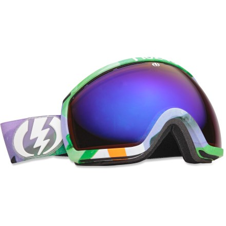 Snowboard Elevating your peripheral vision, the Electric EG2 snow goggles boast an oversize, spherical lens to offer unhindered vision on the mountain. Oversize, spherical dual polycarbonate lens offers an exceptionally clear view and 100% UV protection; antifog coating prevents lens from fogging up. Anti-reflective coating employs a soft mirror to dramatically reduce glare and eye strain; scratch-resistant coating boosts lens resilience. Lightweight, abrasion-resistant ergonomic frame retains maximum flex in cold temperatures. Triple-layer, moisture-wicking face foam with hypoallergenic fleece creates a comfortable interface and wind shield. Vent foam allows maximum breathability and keeps wind and moisture out; vent slots and foam are placed to promote proper airflow. Wide, adjustable strap offers a comfortable and secure, helmet-compatible fit. Bronze-tinted, blue-chromed lens increases shadow contrast in a variety of conditions, ranging from low light and cloudy to bright and sunny. Electric EG2 goggles are designed to fit medium- to large-size heads. - $101.83