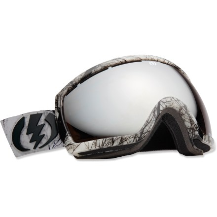 Snowboard Electric EG2.5 snow goggles offer a fit optimized for smaller faces and maintain the excellent wide viewable area of the EG2 line, thanks to a large spherical lens. Oversize, spherical dual polycarbonate lens offers an exceptionally clear view and 100% UV protection; antifog coating prevents lens from fogging up. Anti-reflective coating utilizes a soft mirror to dramatically reduce glare and eye strain; scratch-resistant coating boosts lens resilience. Lightweight, abrasion-resistant ergonomic frame retains maximum flex in cold temperatures. Triple-layer, moisture-wicking face foam with hypoallergenic fleece creates a comfortable interface and wind shield. Vent foam allows maximum breathability while keeping wind and moisture out; vent slots and foam are placed to promote proper airflow. Wide, adjustable strap offers a comfortable and secure, helmet-compatible fit. Twiggy frame color comes with bronze-tinted, silver-chromed lens that offers 13% visible light transmission (VLT) for all-around performance from cloudy to sunny conditions. Singularity frame color comes with bronze-tinted, gold-chromed lens that offers 15% VLT for all-around performance from cloudy to sunny conditions. Electric EG2.5 snow goggles are designed to fit small- to medium-size heads. - $101.83