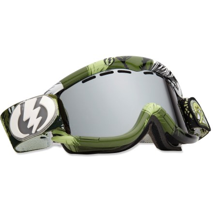 Snowboard The Electric EG1 snow goggles supply dependable eye protection and a wide, clear viewable area thanks to a spherical lens. Oversize, spherical dual polycarbonate lens offers an exceptionally clear view and 100% UV protection. Scratch-resistant coating boosts lens resilience; antifog coating prevents lens from fogging up. Abrasion-resistant ergonomic frame retains maximum flex in cold temperatures. Triple-layer, moisture-wicking face foam with hypoallergenic fleece creates a comfortable interface and wind shield. Vent foam allows maximum breathability while keeping wind and moisture out; vent slots and foam are placed to promote proper airflow. Wide, adjustable strap offers a comfortable and secure fit. Singularity frame color comes with bronze-tinted, gold-chromed lens that offers 15% visible light transmission (VLT) for all-around performance from cloudy to sunny conditions. R.I.D.S. Tanner Rainville frame color comes with bronze-tinted, silver-chromed lens that offers 13% VLT for all-around performance from cloudy to sunny conditions. The R.I.D.S. Tanner Rainville color also uses Electric's Eye Black paint, which is applied to the inside of the frame and helps reduce glare by absorbing reflecting light. Electric EG1 goggles are designed to fit medium- to large-size heads. - $62.83