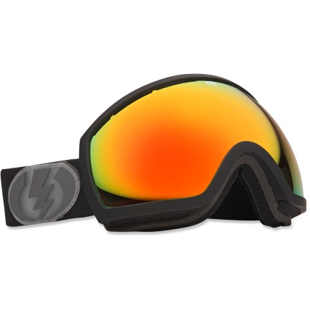 Snowboard Offering wide-screen-like view, the Electric EG2 snow goggles boast an oversize lens, great ventilation and a comfortable fit to ensure clear performance on the slopes. Oversize, spherical dual polycarbonate lens offers an exceptionally clear view and 100% UV protection; antifog coating prevents lens from fogging up. Anti-reflective coating utilizes a soft mirror to dramatically reduce glare and eye strain; scratch-resistant coating boosts lens resilience. Lightweight, abrasion-resistant ergonomic frame retains maximum flex in cold temperatures. Triple-layer, moisture-wicking face foam with hypoallergenic fleece creates a comfortable interface and wind shield. Vent foam allows maximum breathability while keeping wind and moisture out; vent slots and foam are placed to promote proper airflow. Wide, adjustable strap offers a comfortable and secure, helmet-compatible fit. Bronze-tinted, red-chromed lens increases shadow contrast in a variety of conditions, ranging from low light and cloudy to bright and sunny. Electric EG2 goggles are designed to fit medium- to large-sized heads. - $95.83