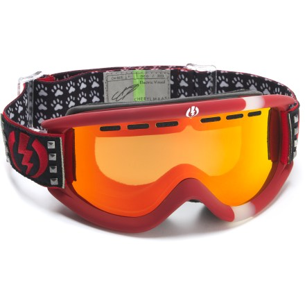 Snowboard These Electric EG.5 snow goggles are part of the Rider Inspired Design Series (R.I.D.S.), taking cues from Cheryl Maas and offering excellent optical performance on the slopes. Cylindrical dual polycarbonate lens offers clear vision and 100% UV protection; antifog coating prevents lens from fogging up. Scratch-resistant coating boosts lens resilience; antifog coating prevents lens from fogging up. Abrasion-resistant ergonomic frame retains maximum flex in cold temperatures. Triple-layer, moisture-wicking face foam with hypoallergenic fleece creates a comfortable interface and wind shield. Vent foam allows maximum breathability while keeping wind and moisture out; vent slots and foam are placed to promote proper airflow. Wide, adjustable strap offers a comfortable and secure fit; articulating strap design ensures helmet compatibility. Bronze-tinted, red-chromed lens offers 17% visible light transmission (VLT) for all-around performance from cloudy to sunny conditions. Electric's Eye Black treatment is applied to the inside of the goggle frame and helps reduce glare by absorbing reflecting light. Cheryl Maas edition of Electric EG.5 R.I.D.S. snow goggles are designed to fit small- to medium-size heads. - $62.83