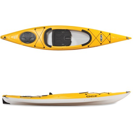 Kayak and Canoe The Elie Sound 120 kayak brings the serenity of the local pond, lake or river within easy reach. Stable and fun, the Elie Sound 120 kayak offers beginning and intermediate paddlers a fun experience on calm waters. 3-layer polyethylene includes a special resin in the top layer, resulting in an unusually stiff, light and responsive watercraft. Specialized thermoforming process fuses together the deck and the hull under high pressure and heat. Large cockpit makes it easy to get into kayak, and soft padded seat ensures you have a fun, comfortable paddle. Adjustable backrest offers padded comfort. Large footbraces adjust to ensure a comfortable paddling position. Extended keel enhances tracking. Quick-lock hatch cover features a hinged design and locking lever; to open hatch, simply slide lever to unlock cover and flip open to access gear. Includes a bottle holder, reflective perimeter lines, bungee storage, drain plug and carry handles that fit into your hands. - $549.00