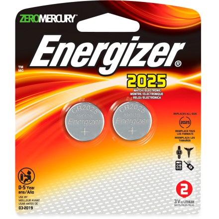 Camp and Hike This package of 2 Energizer CR2025 3V Coin Cell Lithium batteries powers your personal electronics. - $5.95